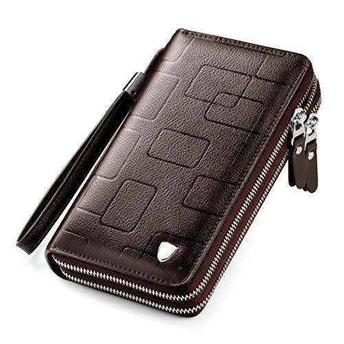 Hochleistungs-Notebook-Business-Männer Handtasche Leder Tri-fach Geldbörse mit Reißverschlusstasche mit großem Bildschirm Telephonhalters Dies gilt für Kreditkarte Bargeld Scheck Münze,Braun,Onesize