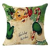 SSUPLYMY Weihnachten Winter Dekokissen Abdeckung 45cm *45cm Leinen niedlichen Weihnachtsmann...
