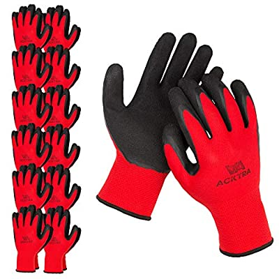 ACKTRA Premium Coated Nylon Safety WORK GLOVES 12 Pairs, Knit Wrist Cuff, for Gardening and General Purpose, for Men & Women, WG009 Red Polyester, Black Latex, Medium
