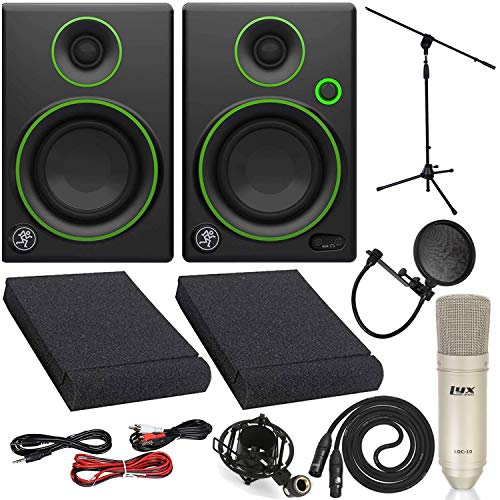 Lowest Price! Mackie CR3 Studio Monitor Speakers Pair with LyxPro Condenser Microphone and Stand Acc...