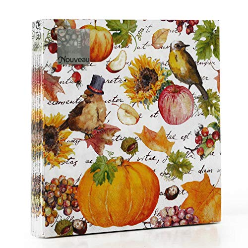 Servilletas de papel desechables para otoño, 20 unidades, 3 capas, 33 x 33 cm