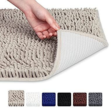 VDOMUS Soft Microfiber Shag Bath Rug, Extra Absorbent and Comfortable, Anti-slip, Machine-Washable Large Bathroom Mat,20 x32 , Beige