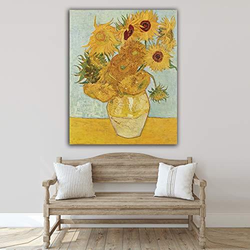Desconocido Cuadro Lienzo Girasoles de Vicent Van Gogh 1888 – Varias Medidas - Lienzo de Tela Bastidor de Madera de 3 cm - Impresion Alta resolucion (40, 50)