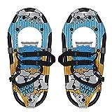 Raquetas de nieve para niños, ligeras de aleación de aluminio para todo terreno con fijaciones ajustables para niños y niñas de hasta 100 libras (2 pares) (color: azul)