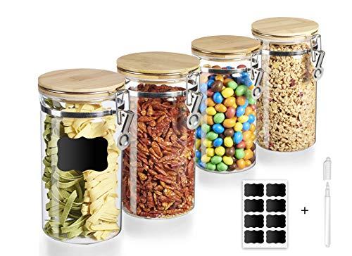 WiLa Home 4er Set Premium Vorratsgläser mit Bambus Deckel und Bügelverschluss | Aufbewahrungsglas für Pasta, Müsli, Gewürze, Kräuter | Vorratsdosen mit 4 zusätzlichen Dichtungen | spülmaschinenfest