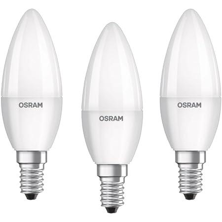 Osram ampoule LED E14 BASE Classic B / 5,5 W - Equivalence incandescence 40 W, ampoule LED en forme de bougie / mat, blanc chaud - 2700K, lot de 3