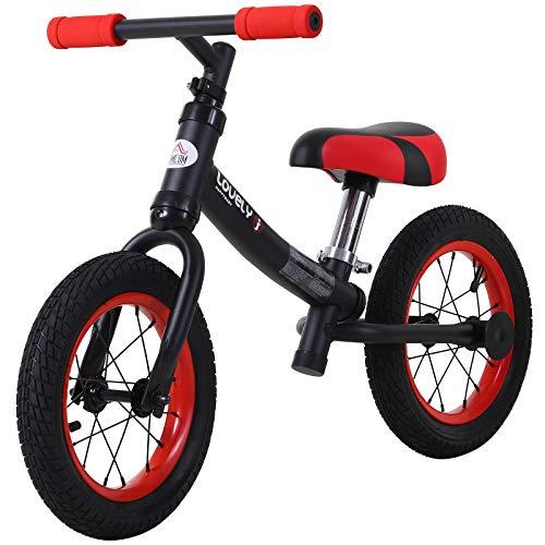 HOMCOM Bicicleta sin Pedales Sillín Regulable 31-45cm Recomendado para niños + 2 Años Rueda de Goma Carga 25kg 65x33x46cm Negra