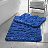 Memory Foam Bath Mat Set 2 Piece Non Slip Pedestal and Bath Mat Set Toilet Bathroom Rug New, Royal Blue By Comfort Collections