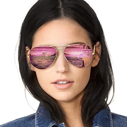 SODQW Pilotenbrille Sonnenbrille Damen Verspiegelt Polarisiert Mode Flieger Brille für Autofahren Angeln Metallrahmen 100% UVA/UVB Schutz (Gold Rahmen Rosa Linse)