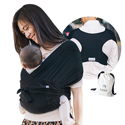 Konny Baby Carrier | Ultra-Lightweight, Hassle-Free Baby Wrap Sling | Newborns, Infants to 44 lbs Toddlers | Soft and Breathable Fabric | Sensible Sleep Solution (Black, S)
