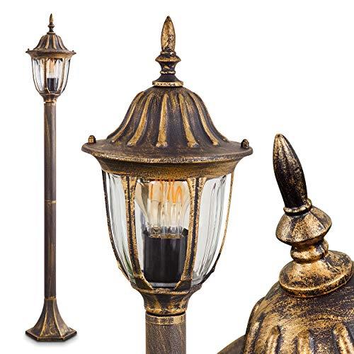 Außenleuchte Ribadeo, Stehleuchte in antikem Look, Aluguß in Schwarz/Gold mit Klarglas-Scheiben, Wegeleuchte 110 cm, Retro/Vintage Gartenlampe, E27-Fassung, max. 60 Watt, IP44