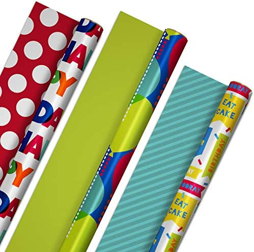 Hallmark Reversible Birthday Wrapping Paper Bundle 3 Pack 75 sq ft ttl Balloons Bright Green product image