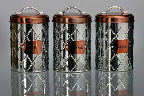 Retro Tea Coffee Sugar Canisters Jars Air Tight Lids Kitchen Storage Set of...