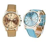 SUZHENA Reloj Relojes Atmospher para Mujer Moda Ginebra Marca Número Romano Reloj de Mujer de Grado destacado, Azul