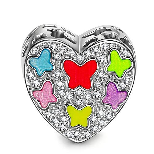 NINAQUEEN Charm Encaja con Pandora Amor Corazón Mariposa Regalos Mujer Originales Plata de Ley 925 Esmalte Abalorios para Niñas Madre Hija Esposa de Cumpleaños