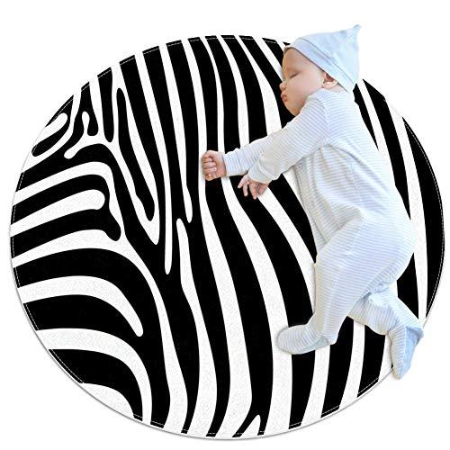 Schwarz-weißer Zebra-Teppich, rund, für Kinderzimmer, Spielzimmer, 70 cm 80x80cm/31.5x31.5IN multi