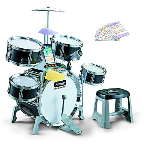 H0_V Batteria Giocattolo per Bambini , Percussioni Strumenti Musicali con Sgabello e Bacchette, Strumento Musicale per Bambini