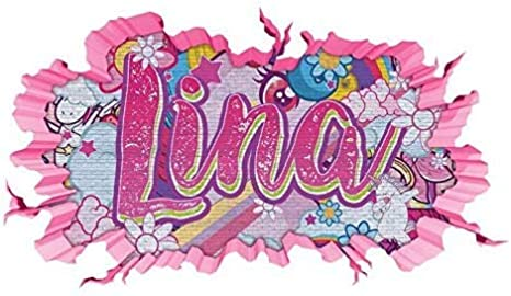 3d Wandtattoo Graffiti Lina Madchen Name Wand Aufkleber Wanddurchbruch Girl Sticker Wandbild Kinderzimmer 11u133 Wandbild Grosse F Ca 47x25cm Amazon De Kuche Haushalt