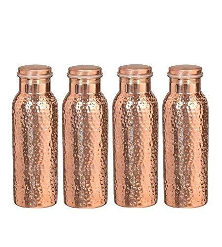Reine Kupfer-Wasserflasche für ayurvedische Gesundheitsvorteile (gelenkfrei und auslaufsicher) SET 4 STÜCK 900 ML
