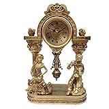 ZBNZ Vintage Table Reloj Péndulo Relojes Dorado Estatua Musical Tema Móvil Sala de la sala Decoración de cuartos de galón de resina Aguja Antigua Escénica WF (Color : A)