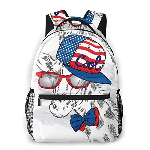 Unisex Backpack Cool Giraffe Like Gentleman 3d All-Over Print Lightweight School Bag For Boy