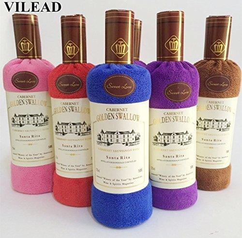 VILEAD - Toalla de baño de algodón suave con forma de botella de vino tinto, regalo de boda, regalo