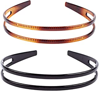Set of 2 Women Hard Plastic Headband Hair Hoop Black and Brown High-grade Headwear Hairband (Style F#)