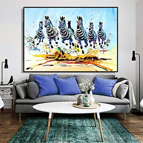 Danjiao Abstrakte Aquarell-Tieröl-Malerei-Plakat Und Druckt Wandkunst-Leinwand-Malerei, Die Zebras-Bilder Für Wohnzimmer-Dekor Läuft Wohnzimmer 60x90cm