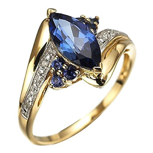 SODIAL(R) Fashion Womens Blue Sapphire Gold Filled Engagement Wedding Rings Gold+Blue US9