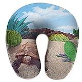 Agnes Carey Cuscino Traspirante per Collo Desert Tortoise Snake Cactus Cuscino, Accogliente Cuscino a Forma di U Cuscino per Collo Rilievo del Dolore al Collo in Qualsiasi Posizione Seduta