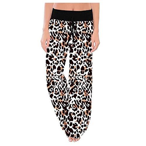 Pantalones cómodos con estampado elástico para mujer, con cordón y pierna ancha, pantalones sueltos