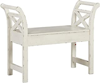 Ashley Furniture Signature Design - Heron Ridge Storage Accent Bench - Antique White Finish - Hinged Seat