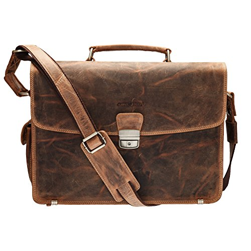 GreenBurry Laptoptasche 15 Zoll Rind-Leder Notebook-Tasche Laptopfach Akten 1718