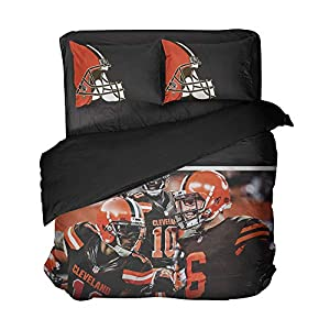 3 Cool Cleveland Football Players Bedspread Sets Modern Graphic Quilt Coverlet for Fandom (Multi, Full 3pcs)