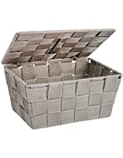 WENKO Storage basket Adria with lid Taupe - bathroom basket with lid, Polypropylene, 19 x 10 x 14 cm, Taupe