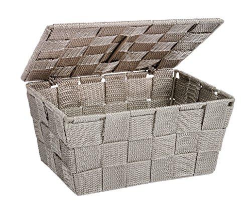WENKO Cesta para el baño Adria con tapa taupe - cesta para el baño con tapa, Polipropileno, 19 x 10 x 14 cm, Taupe