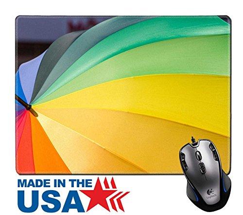 MSD Naturkautschuk Maus Pad/Matte mit genähte Kanten 9,8x 7,9Format Füllung Regenbogen farbigen Regenschirm als Symbol für Toleranz Bild 22182069