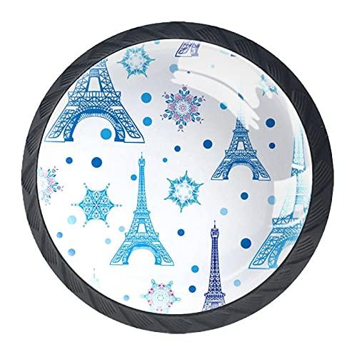 Acuarela azul Torre Eiffel Copo de nieve, impresión minimalista moderna manija del armario manija del cajón manija de la puerta del armario cuatro piezas traje