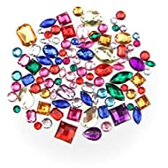 ALL in ONE Mixed Color and Shape Sew on Acrylic Diamante Rhinestone Crystal Gemstone with Hole 50g/Pack
