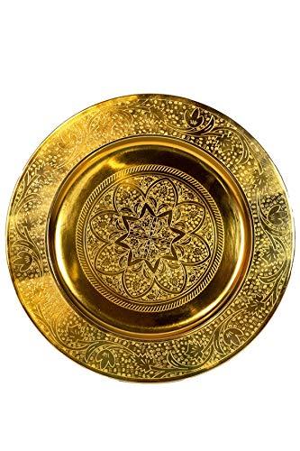 Orientalisches rundes Tablett aus Metall Sidra 30cm | Marokkanisches Teetablett in der Farbe Gold | Orient Goldtablett goldfarbig | Orientalische Dekoration auf dem gedeckten Tisch