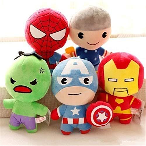 aolongwl Plüschtier 5 Stück / Die Avengers Plüschtiere Hulk Thor Captain America Iron Man Spiderman Kuscheltierspielzeug