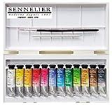 Sennelier acuarelas Set 12 x 10 ml tubos,con pincel y mancha, Made in France
