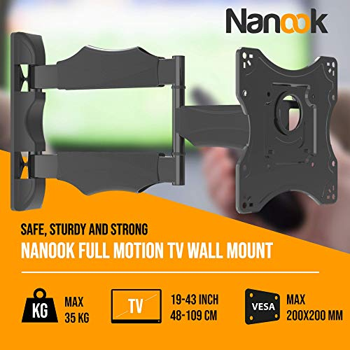 NANOOK Support mural TV orientable pour écrans 19-43 pouces | Inclinable | Support mural pour téléviseurs LCD, LED, QLED et OLED | Universel | VESA 100x100 - 200x200