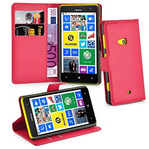 Cadorabo Hülle für Nokia Lumia 625 - Hülle in Karmin ROT – Handyhülle mit Kartenfach und Standfunktion - Case Cover Schutzhülle Etui Tasche Book Klapp Style