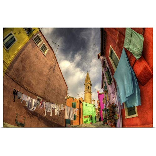 """GREATBIGCANVAS Washday in The Island of Burano, Italy Poster Print, 18""""x12"""""""
