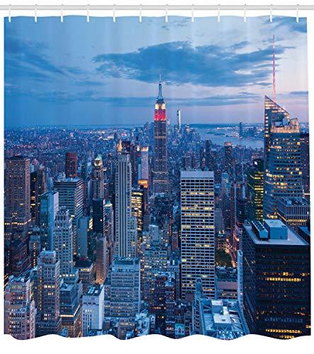 不适用 New Yorker Duschvorhang Nostalgische Luftaufnahme im Winter