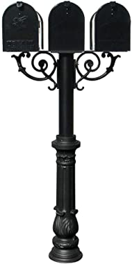 Qualarc HPWS3-US-700-E1 Hanford Triple w/Scroll Supports Post Mounted Mailbox System, Black