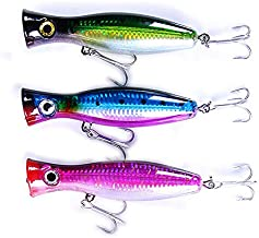 Pack of 3 Large Top Water Poppers 4.75 in/ 1.5 Oz Artificial Seal Lure 3D Eyes with Hooks and Ring for Saltwater Offshore, Surf Fishing Striped Bass, Bluefish (Green/Blue/Red Velvet)