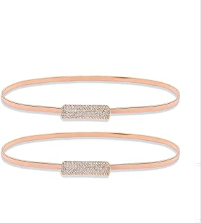 uxcell Metal Rectangle Interlocking Buckle Elastic Waist Chain for Lady