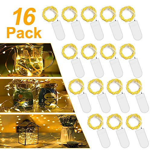 LED Batterie Lichterkette Warmweiß,【16 Stück】Vivibel 2M 20er Mikro LED Lichterkette mit Batterie, IP65 Wasserdicht String Fairy Light Kupfer Drahtlichterkette für Party, Christmas Dekor, Flasche DIY